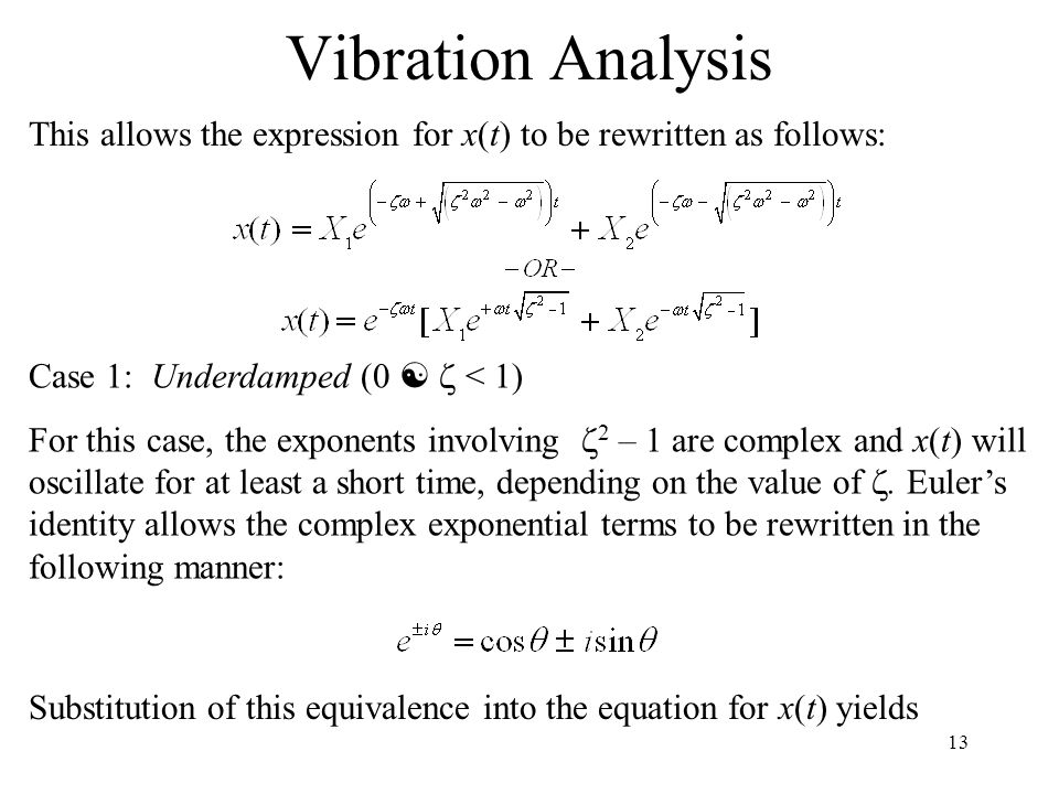Vibration Analysis This allows the expression for x(t) to be rewritten as follows: Case 1: Underdamped (0 [ z < 1)